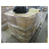 A PALLET OF BOXES WITH PET SEAT COVERS