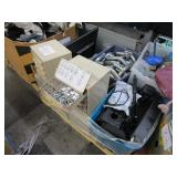 A PALLET WITH ASSORTED HARDWARE, PIPE FITTINGS,