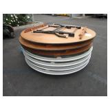 A PALLET WITH ROUND FOLDING TABLES
