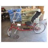 1 RED RECLINED BICYCLE