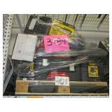 A PALLET WITH TOOLS BOXES, TILE CUTTERS & VACUUM