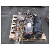 LOT WITH GOLF CLUBS, TENNIS RACKETS, & SKIS