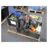 PALLET WITH STRAPS, SAFETY HARNESS, AIR HOSE &