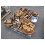 PALLET WITH ASSORTED VICES, PIPE WRENCH, PULLY