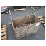 PALLET WITH JUMPER CABLES & HANDSAWS