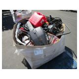 BOX WITH GAS CHAINSAW CASE, POWER BLOWER, GALLON,
