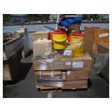 PALLET WITH OMNI LATEX GLOVES & WATER JUGS