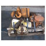 PALLET WITH 3 EQUIPMENT HOISTS