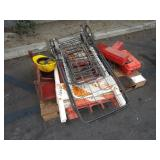 PALLET WITH EMERGENCY SIGNS, EXTENSION CORDS,
