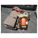PALLET WITH CAR SEAT, BATTERY CHARGER, PNEUMATIC