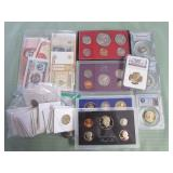 1 BAG W/COLLECTABLE COINS, CURRENCY