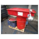 PALLET WITH SOLVENT PARTS WASHER & ASSORTED WIRING