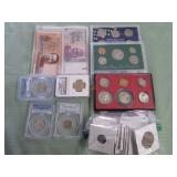 1 BAG W/COLLECTABLE CURRENCY, COINS