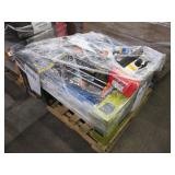 PALLET WITH MAIL BOXES, TILE CUTTERS, DOOR LOCKS,