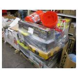 PALLET WITH TILE CUTTERS, TOOL BOXES, REEL MOWER,