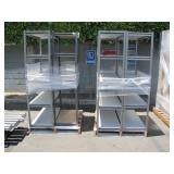 LOT WITH 2 METAL STORAGE SHELVES