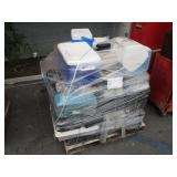 PALLET WITH TOOL BOXES & COOLERS