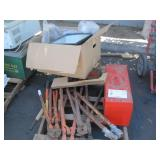 LOT WITH BOLT CUTTERS, TOOL BOX & LIGHT BALLAST