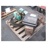 LOT WITH PUMP, PIPE BENDER & ASSORTED SHOP TOOLS