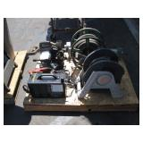 PALLET WITH PORTABLE WELDER, CUTOFF SAW, & HOSE