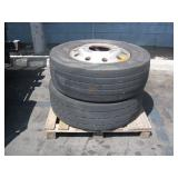 PALLET WITH 2 FIRESTONE TRUCK TIRES