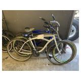 3 BEACH CRUISERS BIKES: WHITE, SILVER, BLUE
