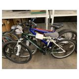 LOT WITH 3 BICYCLES: GREEN GENESIS, BLUE & RED UNK
