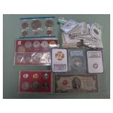 1 BAG W/COLLECTABLE CURRENCY,COINS