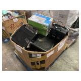 BOX WITH ASSORTED SPEAKERS & HP LASERJET 1020