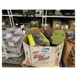 BOX WITH RYOBI WET TILE SAW, SCOTTS REEL MOWER, 3