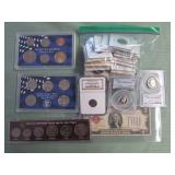 1 LOT W/COLLECTABLE CURRENCY, COINS