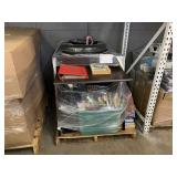 LOT WITH A WOODEN DESK, TIRE & ASSORTED BOOKS