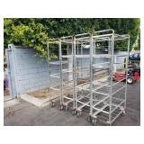 4 ROLLING METAL STORAGE RACKS