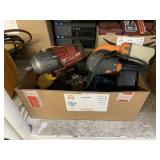 BOX WITH MILWAUKEE DRILL, DEWALT DRILL, RIDGID