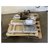 PALLET WITH TILE SAW, BLOWER & CIRCULAR SAW