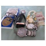 1 BAG W/WATCHES,CURRENCY,MISC: