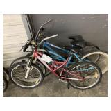 LOT WITH 3 BICYCLES: RED HUFFY, LIGHT BLUE DYNO-GL