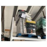 PALLET WITH ASSORTED TOTES & UTILITY BASE/WALL