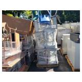 PALLET OF METAL SCHOOL DESKS AND CHAIRS