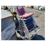 LOT OF ROLLING CART WITH SCHOOL CHAIRS