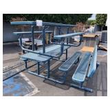 2 STEEL PICNIC TABLES & 1 STEEL BENCH