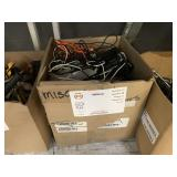 BOX WITH ASSORTED PHONE CORDS & PORTABLE POWER