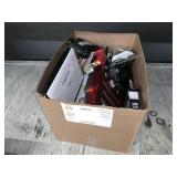 BOX WITH LG DVD PLAYER, BINOCULARS, CAMERAS