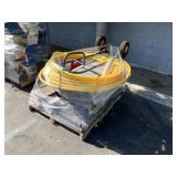 PALLET WITH LAMINATE FLOORING, YELLOW HOSE, DOLLY