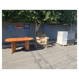 LOT WITH WOODEN TABLE, LAZYBOY, SERVER CABINETS
