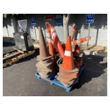 PALLET WITH ASSORTED TRAFFIC CONES & LOOPER TUBES
