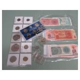 1 LOT W/MIXED COINS, CURRENCY, SILVER TONE COINS