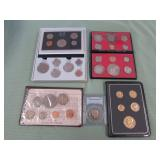 1 BAG W/COLLECTABLE COINS, 1 SET OF 24KT GOLD
