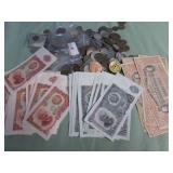 1 LOT W/CURRENCY,COINS