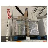PALLET WITH STAINLESS STEEL TRASH CANS,